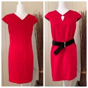 NWT DKNY Red Midi Dress Cap Sleeve Peep Hole sz 0